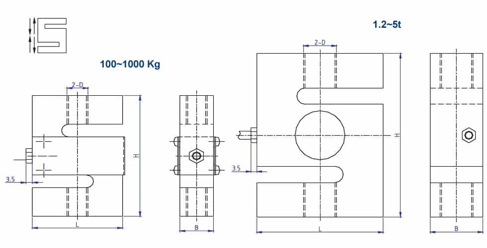 Dimension Load cell DEE