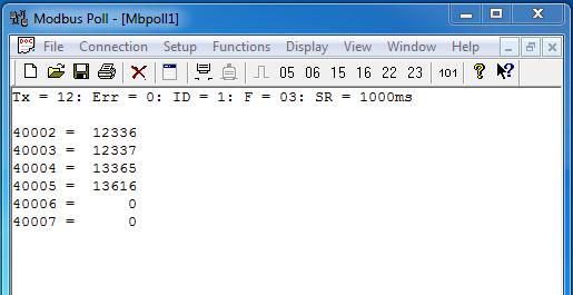 Data register on Modbus Tool