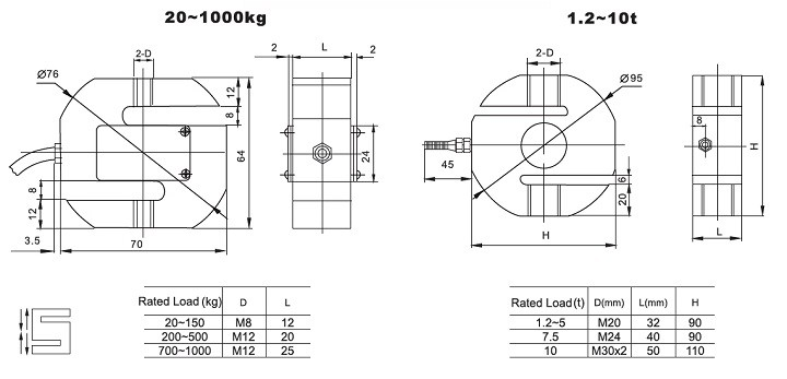Dimension Load cells PST-A